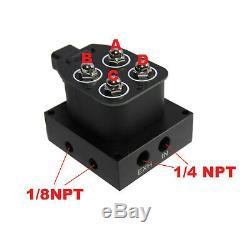 1/4NPT 2Corner Block Manifold Solenoid Valve 200PSI Control Air Bag Suspension