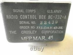 1 Ea Nos Crosley Corp Wwii Localizer Control Box P/n Bc-732a Orig. 1945 Pack