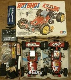 2x Vintage 1985 Tamiya Hotshot RC Offroad Cars One Boxed extra parts controller